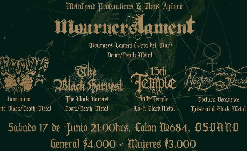 17 de Junio: Mourners Lament, The Black Harvest, Invocation, 13th Temple y Nocturn Decadence en Osorno